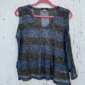 Splendid Blue Leopard Sheer Boxy Top Size Small